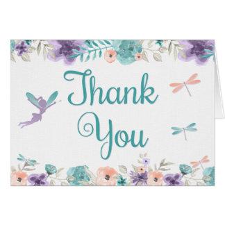 Cartões de agradecimentos florais da libélula