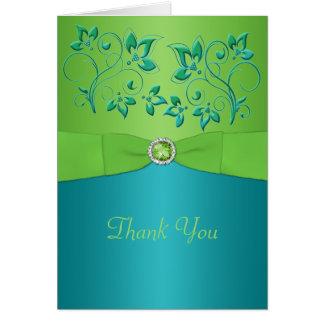 Cartões de agradecimentos florais de turquesa e de