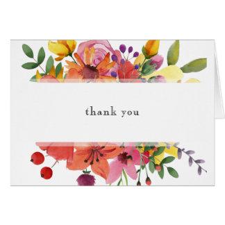 Cartões de agradecimentos florais do casamento