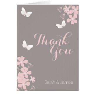 Cartões de agradecimentos florais do chá de