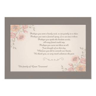 Cartões de agradecimentos florais do falecimento convite 12.7 x 17.78cm