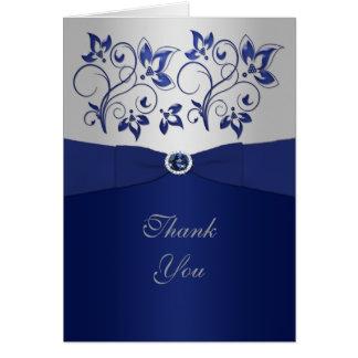 Cartões de agradecimentos florais do marinho e da