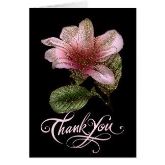 Cartões de agradecimentos florais do rosa bonito e