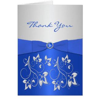 Cartões de agradecimentos florais dos azuis
