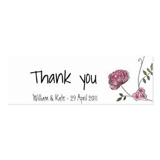 Cartões de agradecimentos florais para favores cartão de visita skinny