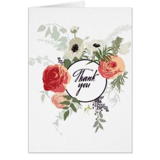 Cartões de agradecimentos florais pintados