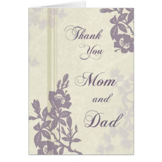 Cartões de agradecimentos florais roxos do dia do