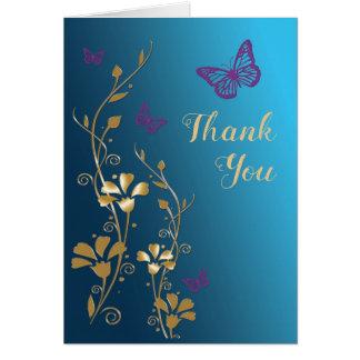 Cartões de agradecimentos florais roxos do ouro da