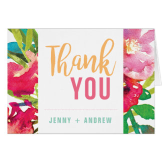 Cartões de agradecimentos florais tropicais do chá