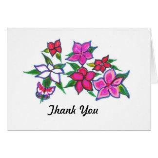 Cartões de agradecimentos florais vermelhos e cor-