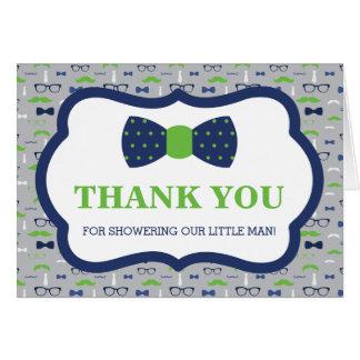 Cartões de agradecimentos, homem pequeno, laço