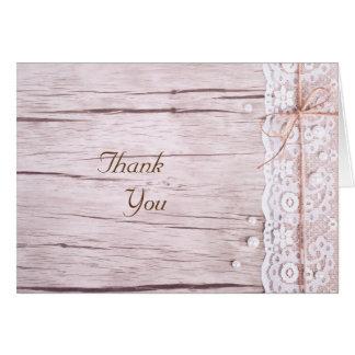 Cartões de agradecimentos--Laço & madeira