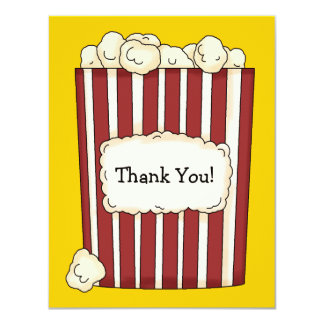 Cartões de agradecimentos lisos da pipoca convite 10.79 x 13.97cm