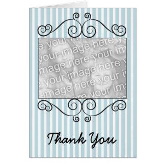 Cartões de agradecimentos listrados azuis &