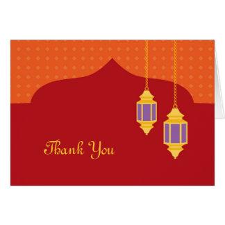 Cartões de agradecimentos marroquinos da lanterna
