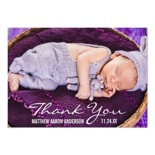Cartões de agradecimentos modernos da foto do bebê convite 12.7 x 17.78cm
