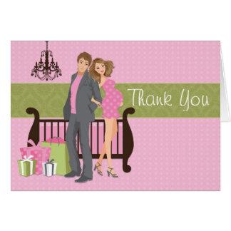 Cartões de agradecimentos modernos do chá de