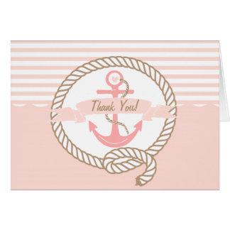 Cartões de agradecimentos náuticos cor-de-rosa da