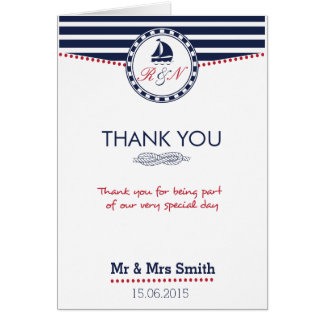 Cartões de agradecimentos náuticos do casamento -