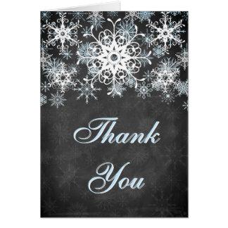 Cartões de agradecimentos nevado azuis legal do