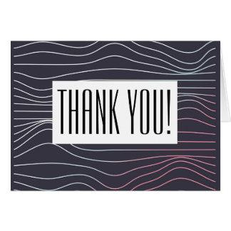 Cartões de agradecimentos - onda retro com texto
