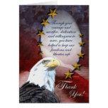 Cartões de agradecimentos patrióticos da águia ame