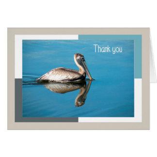Cartões de agradecimentos, pelicano com reflexão