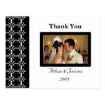 Cartões de agradecimentos preto e branco cartões postais