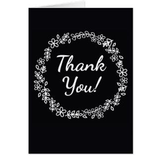 Cartões de agradecimentos preto e branco com