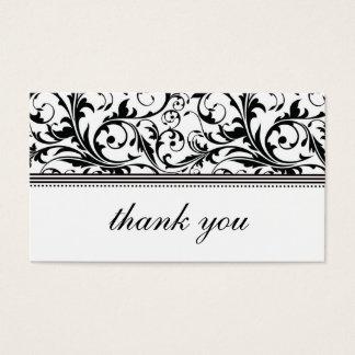 Cartões de agradecimentos preto e branco do