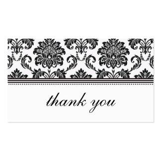 Cartões de agradecimentos preto e branco do damasc modelo cartão de visita