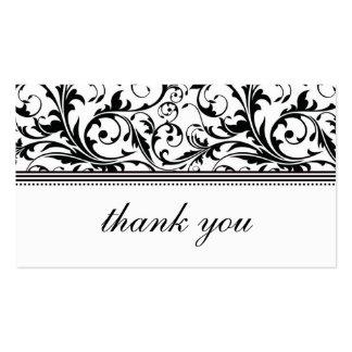 Cartões de agradecimentos preto e branco do redemo modelo de cartões de visita