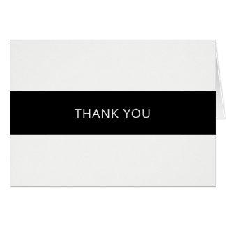 Cartões de agradecimentos preto e branco simples -