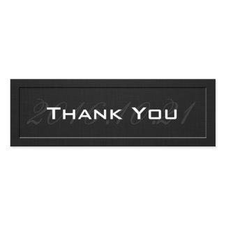 Cartões de agradecimentos - preto gravado elegante cartão de visita skinny