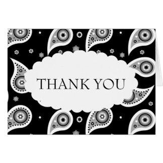 Cartões de agradecimentos pretos & brancos do