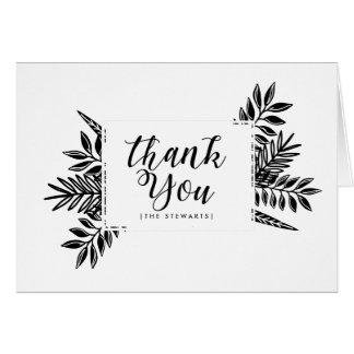 Cartões de agradecimentos pretos & brancos dos