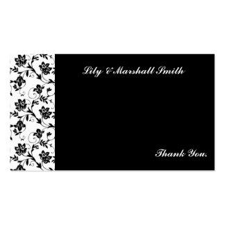 Cartões de agradecimentos pretos da elegância modelo cartões de visitas
