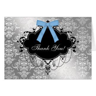 Cartões de agradecimentos pretos e azuis do chá de