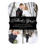 Cartões de agradecimentos pretos Scalloped da foto Convite 12.7 X 17.78cm
