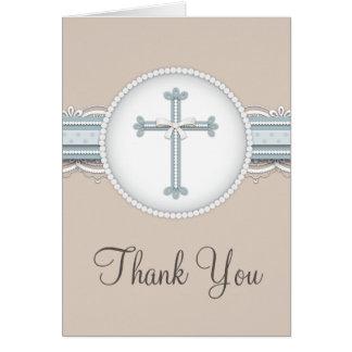 Cartões de agradecimentos religiosos bege da