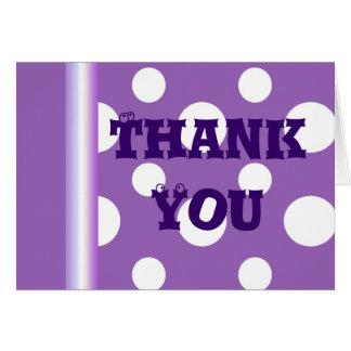 Cartões de agradecimentos roxos das bolinhas