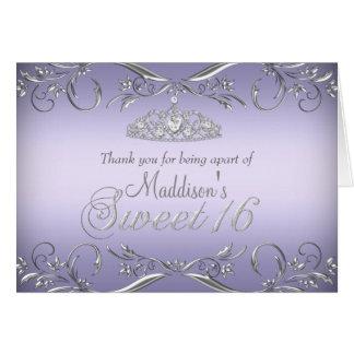 Cartões de agradecimentos roxos & de prata do doce