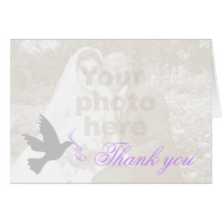 Cartões de agradecimentos roxos do casamento da fo