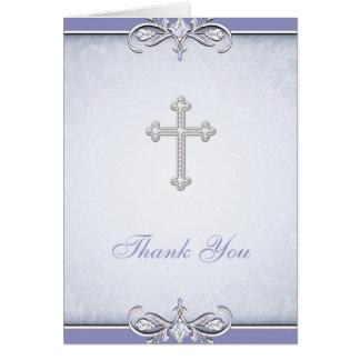 Cartões de agradecimentos roxos do cristão da cruz