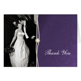 Cartões de agradecimentos roxos do damasco