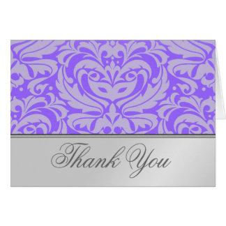 Cartões de agradecimentos roxos do damasco do rolo