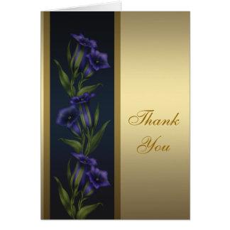 Cartões de agradecimentos roxos do ouro das