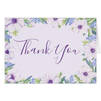 Cartões de agradecimentos roxos do primavera do