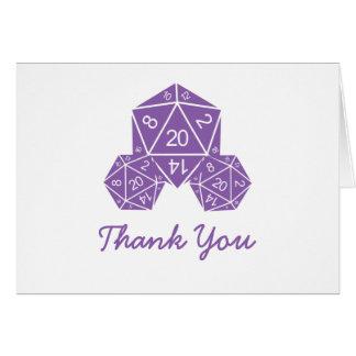 Cartões de agradecimentos roxos dos dados D20