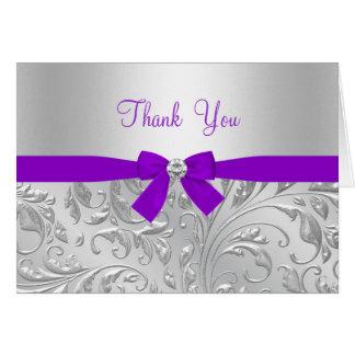 Cartões de agradecimentos roxos florais & do arco